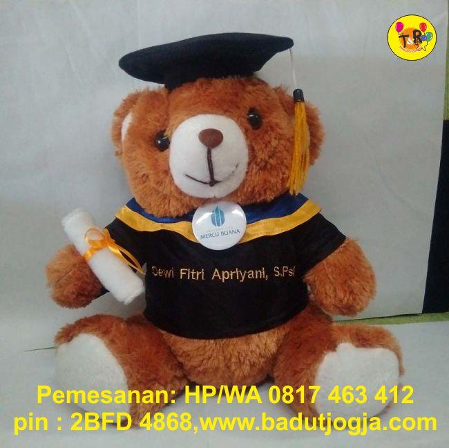 jual boneka wisuda beruang coklat plus pin dan bordir nama