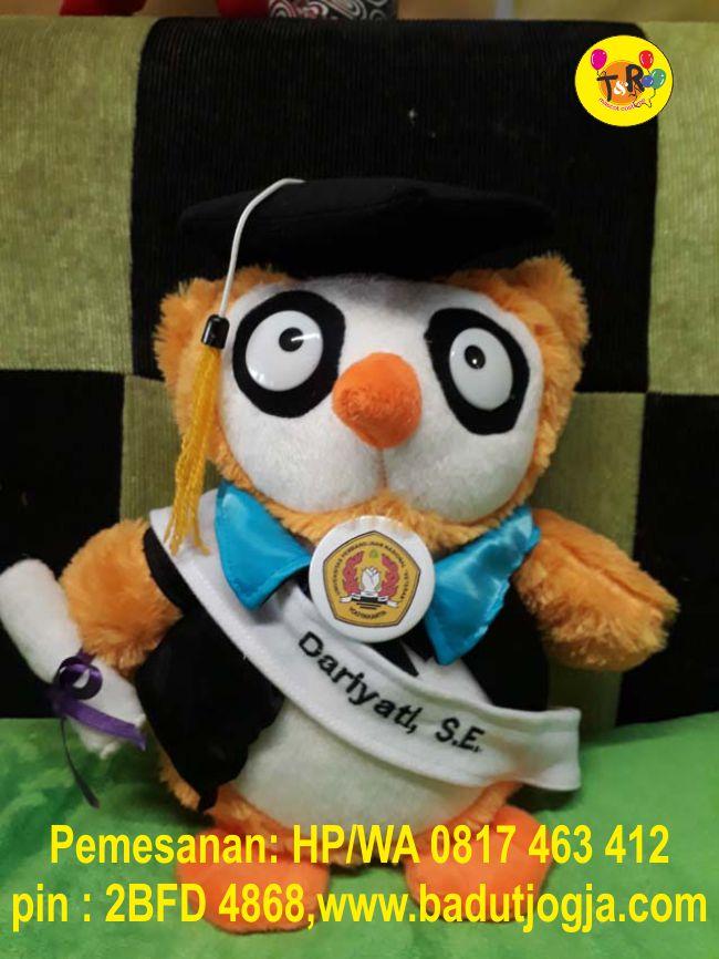 jual boneka wisuda owl plus pin dan selempang nama