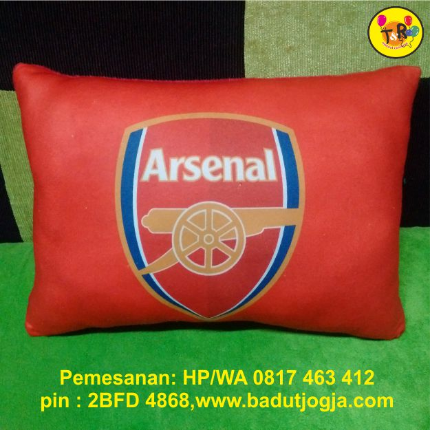 bantal printing arsenal,logo club sepak bola