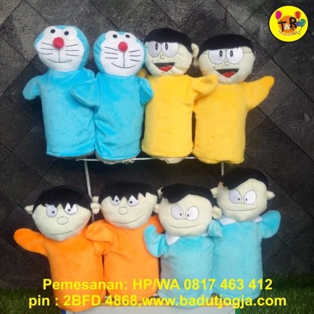 boneka tangan kartun doraemon,nobita,giant,suneo
